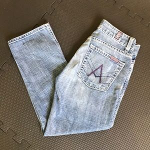 7 For All Mankind Cropped Skinny Jeans Size 24 GUC